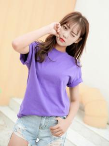 Three d新款紫色T恤