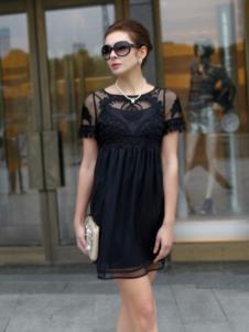 迪菲娜女装黑色刺绣连衣裙