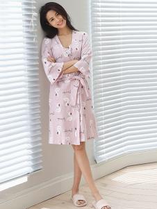 黛梦思女装粉色火烈鸟睡裙