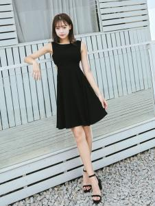 Three d新款气质无袖黑色连衣裙