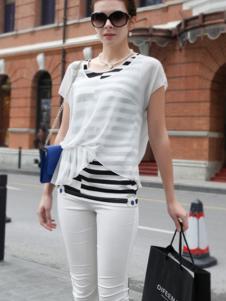 迪菲娜女装白色雪纺透明罩衣