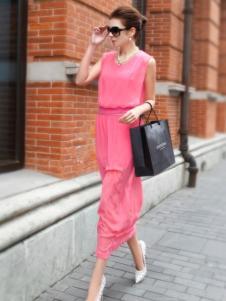 迪菲娜女装粉色无袖连衣裙