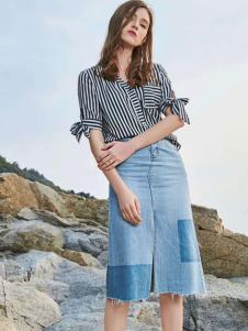 优衣美18夏季新款牛仔半裙