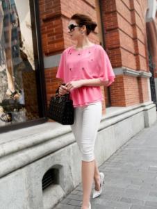 迪菲娜女装粉色雪纺T恤