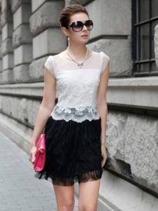 迪菲娜女装白色蕾丝T恤