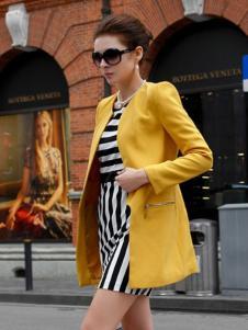 迪菲娜女装黄色圆领西装