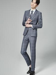 法派特男装灰色格子西装套装