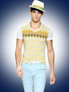 二狼狐轩男装黄色条纹T恤