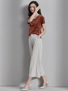 梵希蔓女装浅灰色休闲阔腿裤