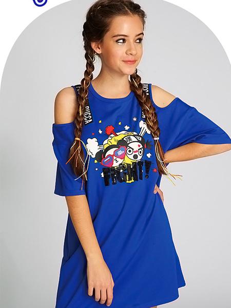 PUCCA蓝色T恤