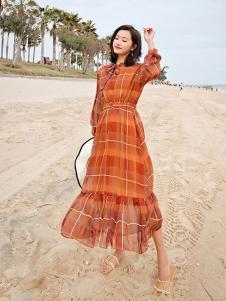 杰奥思琳女装棕色格子连衣裙