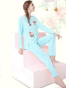 花丛丽影女装浅青色印花睡衣