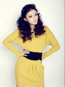海伦公主女装黄色收腰连衣裙