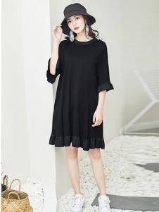 秸熙女装黑色雪纺连衣裙