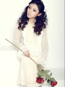 海伦公主女装白色雪纺连衣裙