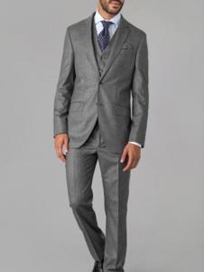 哈克特男装灰色宽松西装套装