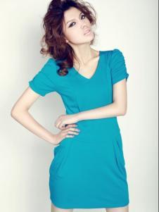 海伦公主女装蓝色V领连衣裙