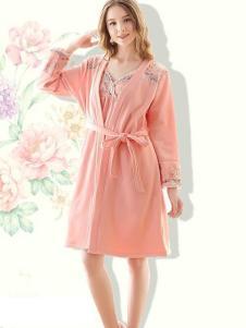花丛丽影橘粉色睡裙两件套