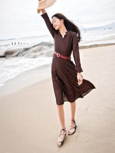 杰奥思琳女装黑色雪纺波点连衣裙
