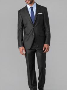 哈克特男装黑色百搭商务西装套装