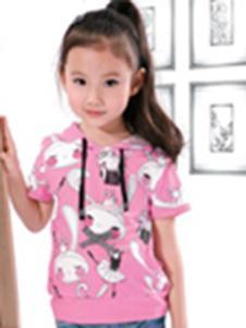 酷奇贝贝童装梅红色卡通动物T恤