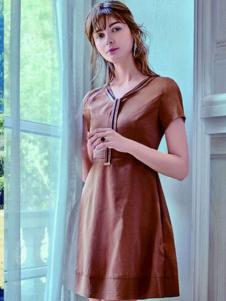 青葵女装新品咖啡色短袖连衣裙