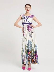 La Koradior女装印花无袖连衣裙