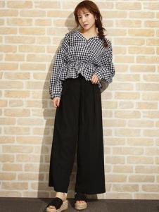 艾慕丝女装新品深灰色格纹阔腿裤套装