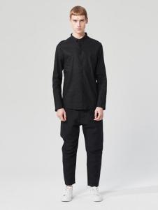 ZUEE男裝新品黑色襯衫休閑系列
