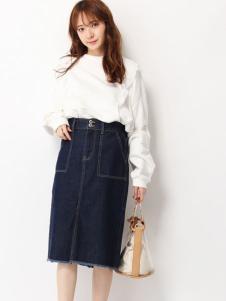 艾慕丝女装新品白色衬衫牛仔裙套装