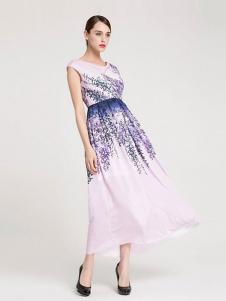 La Koradior女装浅粉色印花连衣裙