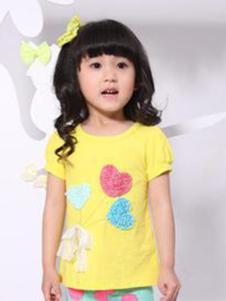 酷奇贝贝童装黄色绣心T恤