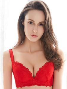 Rolise内衣红色蕾丝花边文胸
