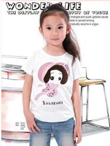 酷奇贝贝童装白色卡通人物T恤