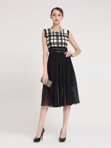 La Koradior女装黑色格子无袖连衣裙