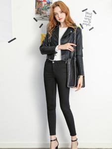 拉貝緹女裝黑色pu皮衣