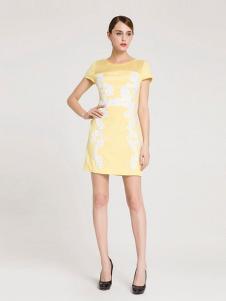 La Koradior女装黄色蕾丝连衣裙