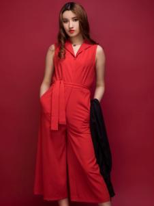 杰恩蒂女装红色休闲连体裤