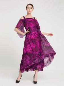 La Koradior女装紫色吊带连衣裙