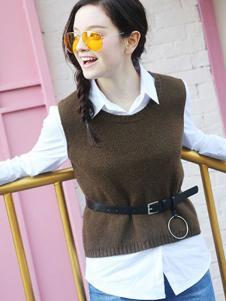 摩奥女装新品咖啡色针织两件套装