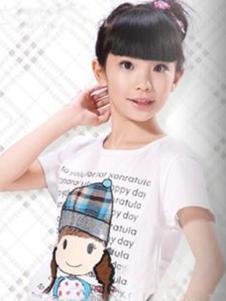 酷奇贝贝童装白色卡通字母T恤