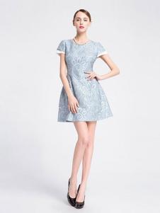 La Koradior女装浅蓝短袖连衣裙