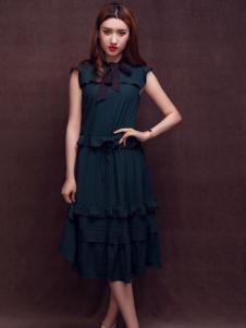 杰恩蒂女装黑色无袖连衣裙