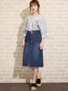 艾慕丝女装新品蓝灰色格纹牛仔裙套装