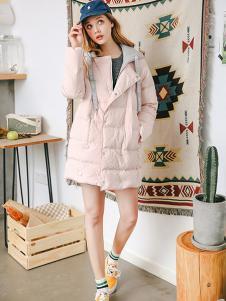 拉貝緹女裝粉色寬松棉衣