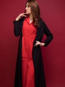 杰恩蒂女装黑色宽松长款外套