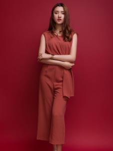 杰恩蒂女装红色休闲套装