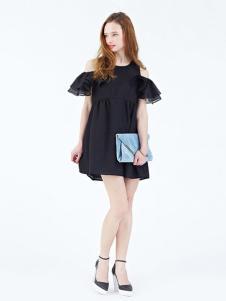 Rosebullet女装黑色露肩连衣裙
