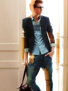 魔逗鱼男装蓝色翻领衬衫