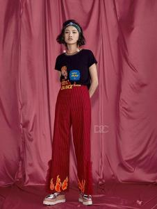 密扇女装红色细条纹休闲裤